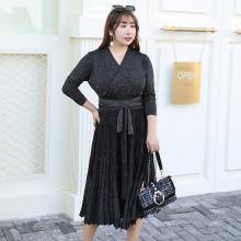 诗铭洛可2018秋季新品大码女装针织连衣裙时尚百褶长裙7107