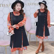 诗铭洛可2018秋装新款大码女装遮肚子显瘦两件套连衣裙0981
