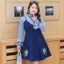 诗铭洛可2018大码秋装大码女装韩版显瘦两件套装连衣裙子6491