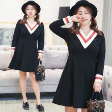 诗铭洛可2018秋装新款大码女装韩版显瘦V领连衣裙0860