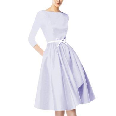 tobebery2020春裝新款女一字領收腰A字裙七分袖中長款連衣裙