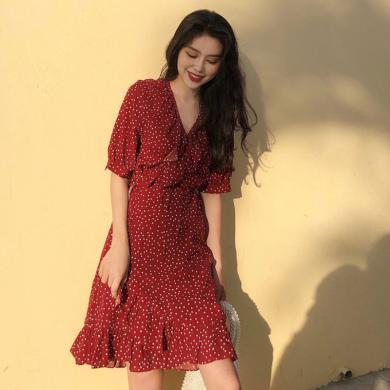 姝奕2019夏季新款流行法國復古山本仙女超仙甜美紅色波點雪紡連衣裙子HD6987