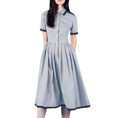 tobebery格子襯衫連衣裙女夏季2019新款襯衣裙修身顯瘦氣質a字裙