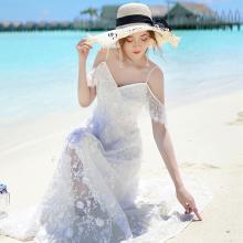 搭歌2019夏季新款海邊繡花網紗度假露肩吊帶長裙仙女連衣裙A2090