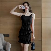 亿族 夏季新款甜美气质性感吊带裙时尚百搭修身荷叶边包臀连衣裙女