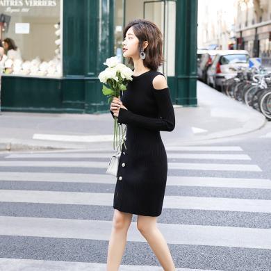 熱嘉黑色針織開叉打底連衣裙女裝春秋季2019新款小心機裙子設計感裙子36O82