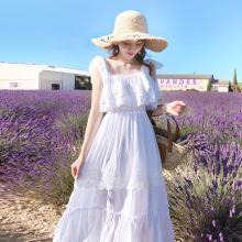 搭歌夏季新款法式桔梗仙女chic溫柔法國系帶荷葉邊連衣裙子A2123