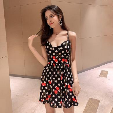 亿族 夏季新款弹力收腰显瘦性感V领吊带裙樱桃波点印花修身连衣裙女
