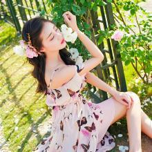 搭歌夏季新款荷葉邊雪紡海邊度假沙灘裙女士吊帶連衣裙 A2091
