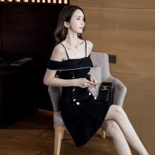 搭歌2019夏季一字领露肩拼接短袖修身韩版A字短款款连衣裙女A1545