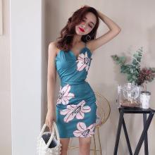 亿族 夏季新款时尚气质修身性感V领吊带裙收腰显瘦印花包臀连衣裙女