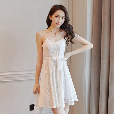 億族 夏季新款韓版時尚鏤空性感吊帶裙系帶收腰顯瘦優雅氣質連衣裙