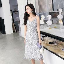 搭歌2019夏季新款時尚修身顯瘦V領吊帶露背性感蕾絲連衣裙女A2100