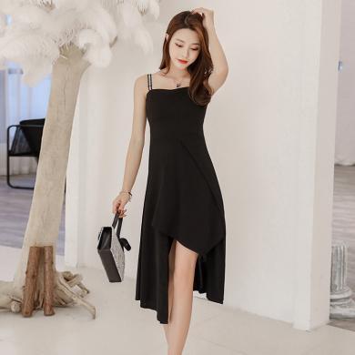 meyou 夏季新款時尚不規則大擺吊帶連衣裙性感露背收腰顯瘦背帶裙女