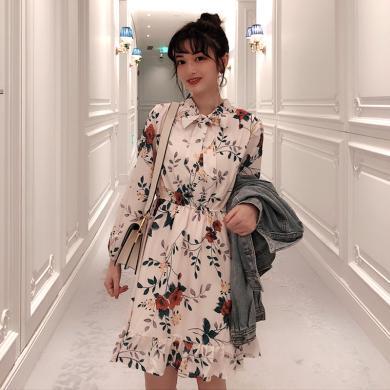 meyou  浪漫印花系带连衣裙春季新款气质长袖连衣裙收腰短款裙子