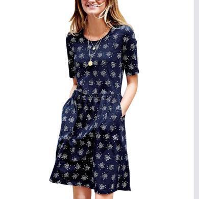 有氣質的碎花連衣裙2019夏裝新款女裙子修身顯腿長中裙拼接a字裙   新款預售10天