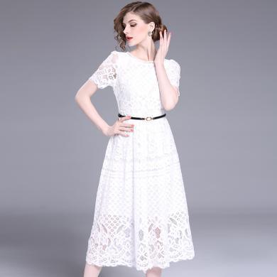 法米姿 2019夏季新品連衣裙歐美大碼女裝短袖修身顯瘦性感蕾絲連衣裙  915326