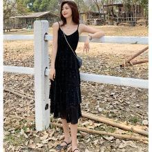 meyou 名媛气质blingbling~吊带裙夏季新款女装蛋糕裙法国小众连衣裙