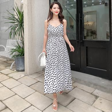 綺娑 女裝夏季新款時尚休閑海邊度假印花連衣裙中長款寬松顯瘦性感吊帶裙女