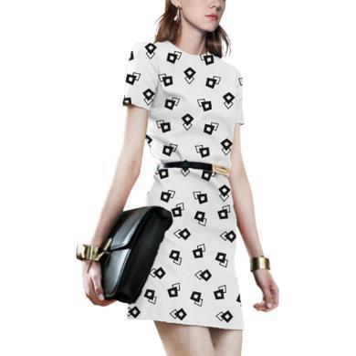 歐洲站時尚印花連衣裙女2019夏裝新款修身氣質短裙顯高小個子裙子   新款預售10天