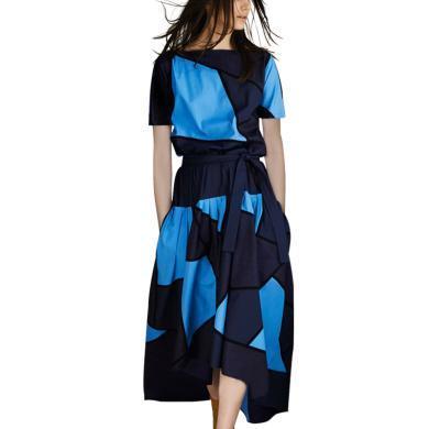 法國法式小眾連衣裙高端大牌減齡裙子2019夏裝新款過膝撞色A字裙