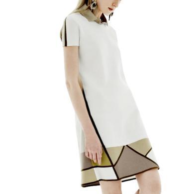 白色chic雪纺连衣裙女夏装2019新款女中长款时尚短袖衬衫宽松裙子