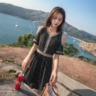 MUYANG新款韓版網紅女裝短袖露肩a字裙子1166