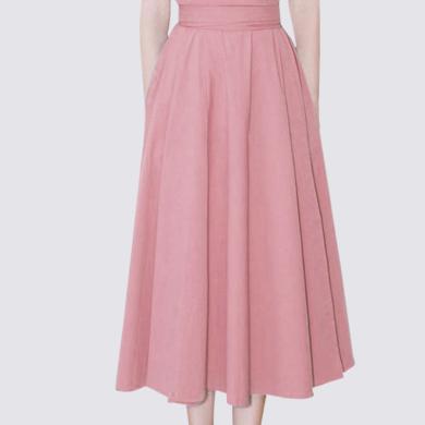 法式小眾收腰連衣裙2019夏季新款很仙的修身過膝粉色女神范a字裙