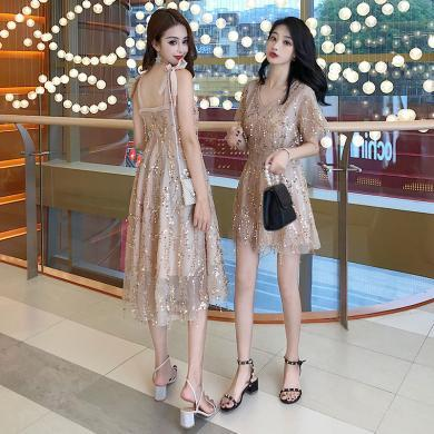 姝奕連衣裙2019新款夏亮片吊帶裙閨蜜裝很仙的法國小眾桔梗裙仙女裙子HD7375