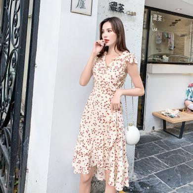 NewmanCity仙女仙甜美 v領連衣裙女2019新款夏小個子小清新荷葉邊顯瘦裙子LYQ57