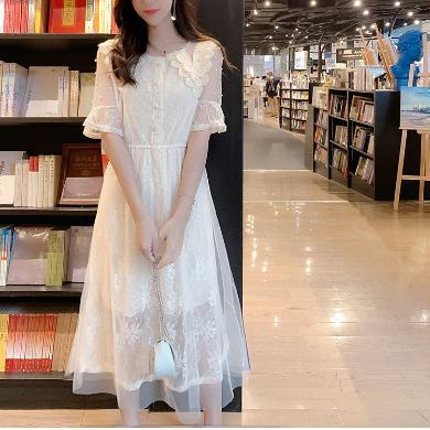 NewmanCity夏季新款法式桔梗網紗拼接淑女蕾絲連衣裙釘珠裙短袖LYQ54