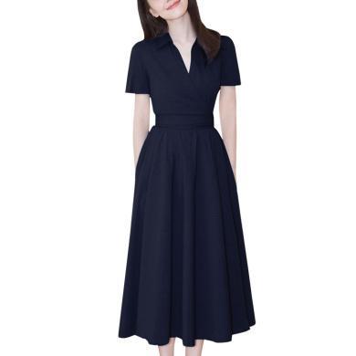 时尚名媛女装过膝a字裙2019夏季新款法式复古连衣裙气质裙子女