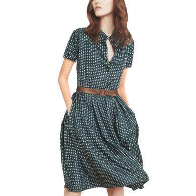 法式桔梗裙小個子顯瘦女2019夏裝新款氣質碎花顯瘦a字襯衫連衣裙