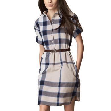 tobebery氣質時尚格子連衣裙文藝范襯衫中裙2019春夏新款修身顯腿長裙子