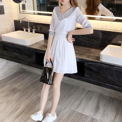 MUYANG夏季新款小清新白色V領短袖裙子9218