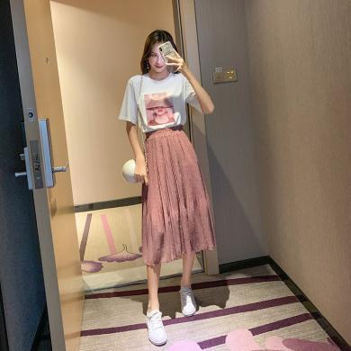 MUYANG夏新款印花短袖T恤韩版半身裙子1628