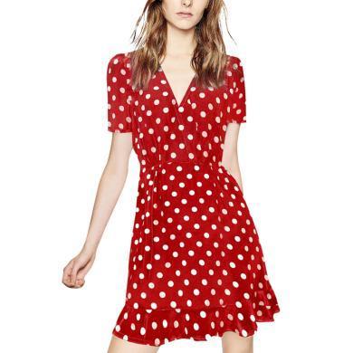 歐洲站紅色V領連衣裙女2019夏裝新款荷葉邊波點裙子寬松時尚a字裙