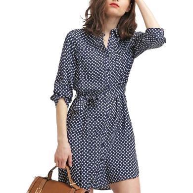 淑女風波點寬松顯瘦襯衫裙女裙2019夏裝新款有女人味的氣質連衣裙