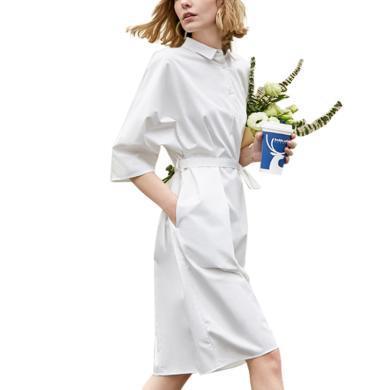 很仙的白色襯衫連衣裙簡約2019夏季新款寬松顯瘦中長款休閑裙子女