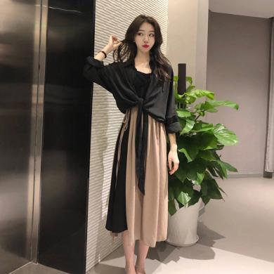 CAVS衬衫套装裙女初秋2019新款桔梗女森系甜美连衣裙两件套HD7987