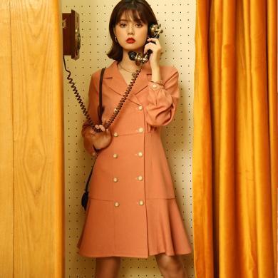 BANANA BABY2019秋新款OL法式復古顯瘦雙排扣西裝連衣裙女魚尾裙D293LY576