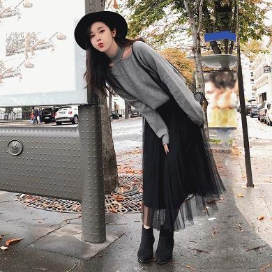 CVAS秋冬新款韩版气质女神甜美纱裙子套装女时尚洋气毛衣配裙子两件套HD8032