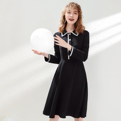 刊菲 2019秋季新款女装翻领拼色梭织a字裙气质轻熟长袖连衣裙 63356