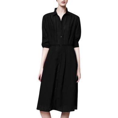 智熏裙法式桔梗裙小個子顯瘦女2019秋季新款黑色襯衫裙氣質連衣裙