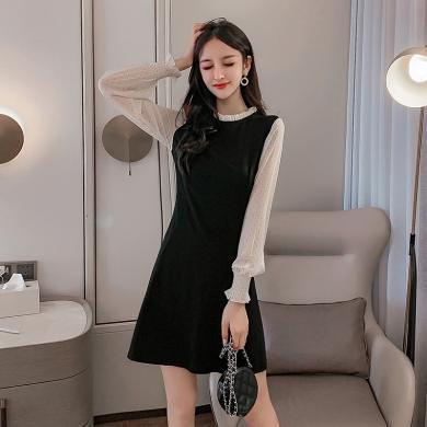 DOWISI实拍假两件连衣裙女2019女装秋装韩版气质小香风针织流行裙子HMWL1987