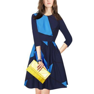 時尚拼接撞色高端連衣裙2019秋季新款收腰顯瘦短裙氣質名媛a字裙