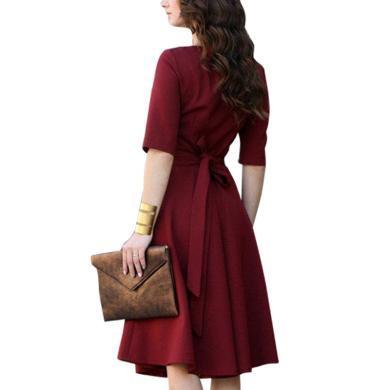 法式小眾紅色V領連衣裙女2019夏季新款時尚小個子收腰顯瘦A字裙仙