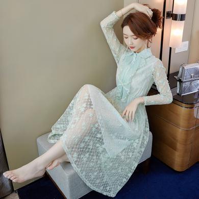 妙芙琳  2019秋裝女新款蕾絲連衣裙潮流行裙子仙女森系牛油果綠長裙子
