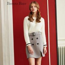 BANANA BABY新款时尚高腰双排扣系腰带毛呢半身裙女A字裙D64Q140