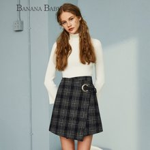BANANA BABY新款格子不规则毛呢半身裙女A字短裙子D63Q641